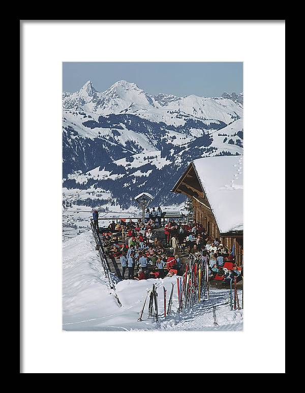 Gstaad Framed Print featuring the photograph Eagle Club by Slim Aarons