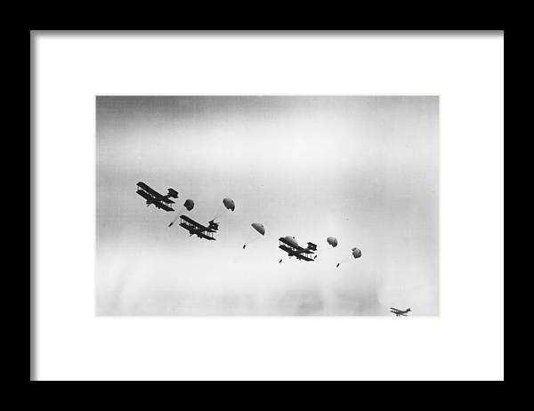 Parachuting Framed Print featuring the photograph Early Chutes by H. F. Davis