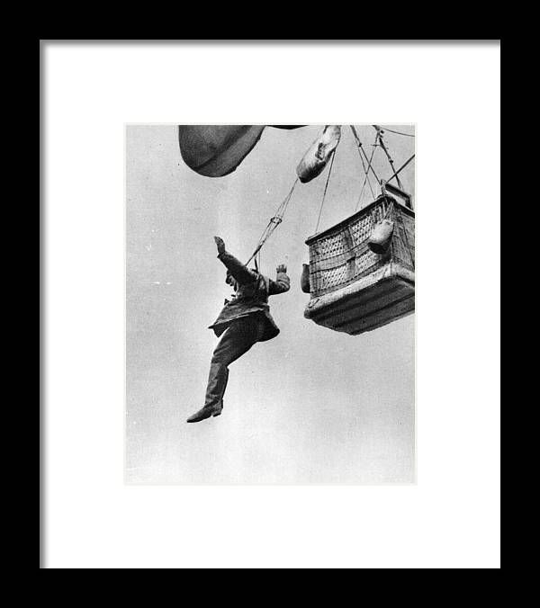 Parachuting Framed Print featuring the photograph Early Parachute by Three Lions
