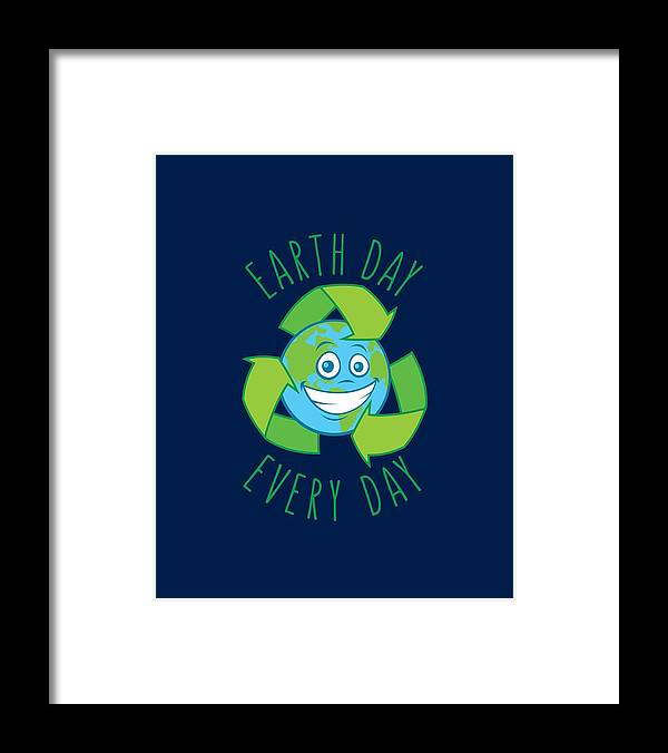 Green Framed Print featuring the digital art Earth Day Every Day Recycle Cartoon by John Schwegel