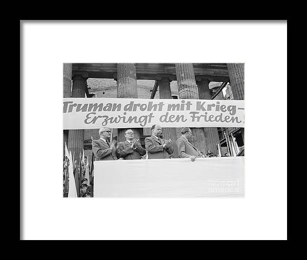 People Framed Print featuring the photograph East German Ministers Applauding by Bettmann