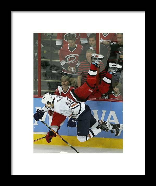Playoffs Framed Print featuring the photograph Edmonton Oilers V Carolina Hurricanes by Bruce Bennett