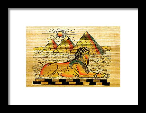 Ancient History Framed Print featuring the digital art Egyptian Souvenir Papyrus by Ewg3d