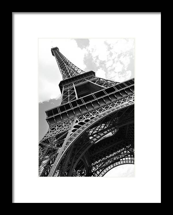 Black Color Framed Print featuring the photograph Eiffel Tower In Black And White by Sarah8000
