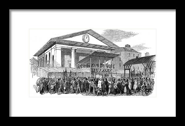 Engraving Framed Print featuring the drawing Election Hustings In Covent Garden by Print Collector
