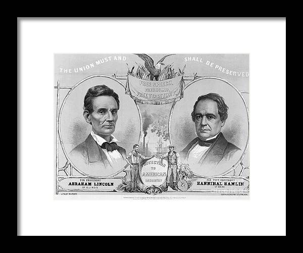 Art Framed Print featuring the photograph Election Poster With Abraham Lincoln by Bettmann