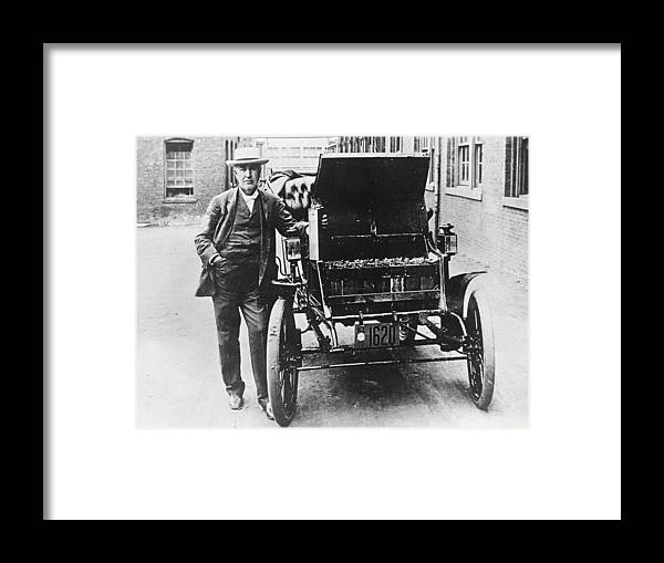 Physicist Framed Print featuring the photograph Electric Car by General Photographic Agency