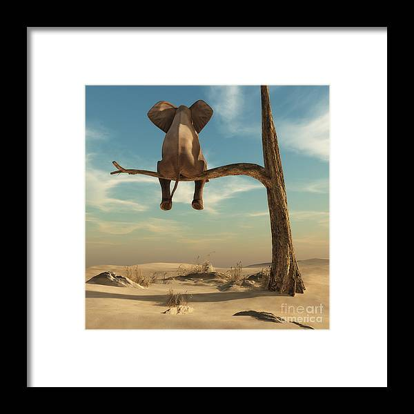 Harmony Framed Print featuring the digital art Elephant Stands On Thin Branch Of by Orla