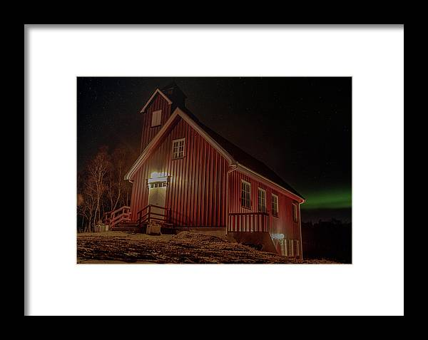 Aurora Borealis Framed Print featuring the photograph Elgsnes Chapel by Kai Mueller