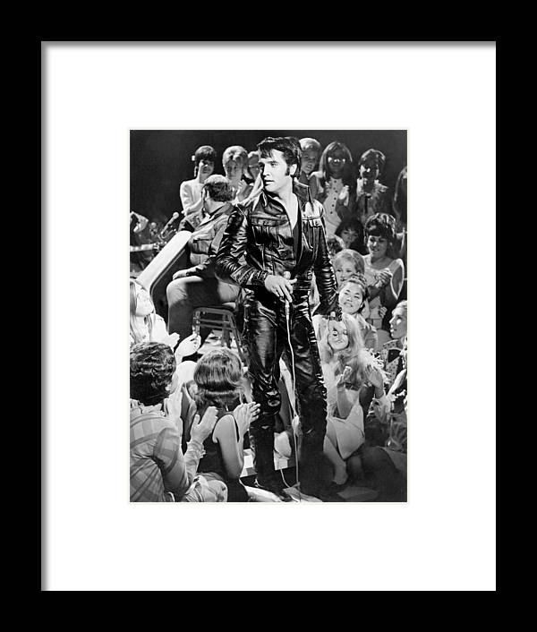 Music Framed Print featuring the photograph Elvis Presley 68 Comeback Special by Michael Ochs Archives