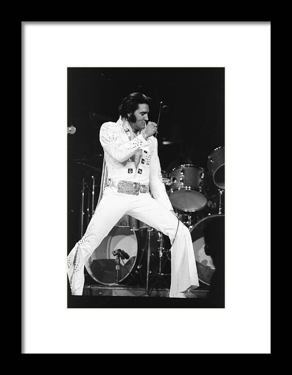 People Framed Print featuring the photograph Elvis Presley On Stage During His 1972 by New York Daily News Archive