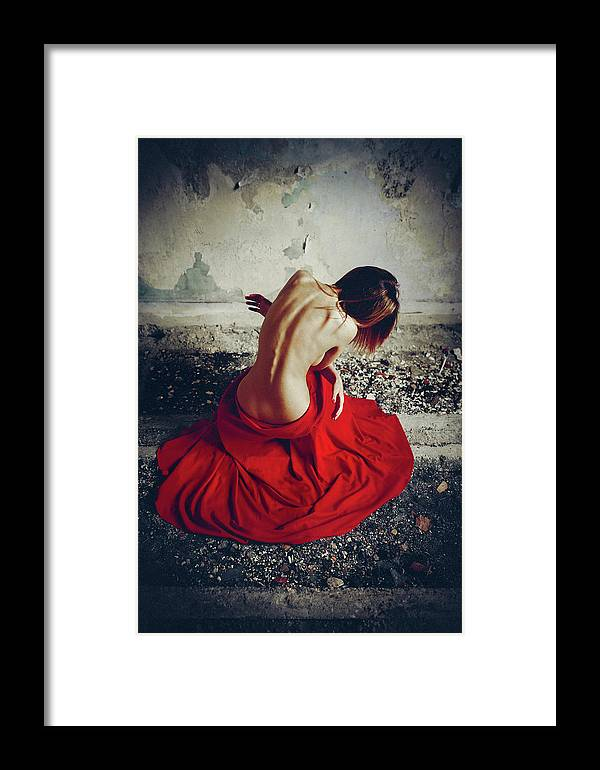 Red Framed Print featuring the photograph Embrace Of Sorrow by Ruslan Bolgov (axe)
