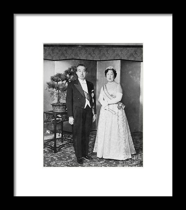 Mature Adult Framed Print featuring the photograph Emperor Hirohito And Empress Nagako by Bettmann