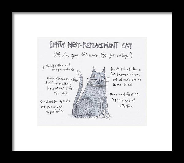 Captionless Framed Print featuring the drawing Empty Nest Replacement Cat by Teresa Burns Parkhurst
