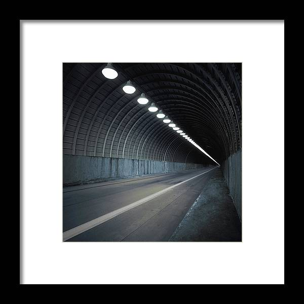 Empty Framed Print featuring the photograph Empty Tunnel With Lights Digital by Ed Freeman
