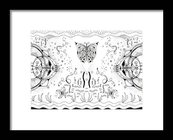 Endless Flow 3 By Helena Tiainen Framed Print featuring the drawing Endless Flow 3 by Helena Tiainen