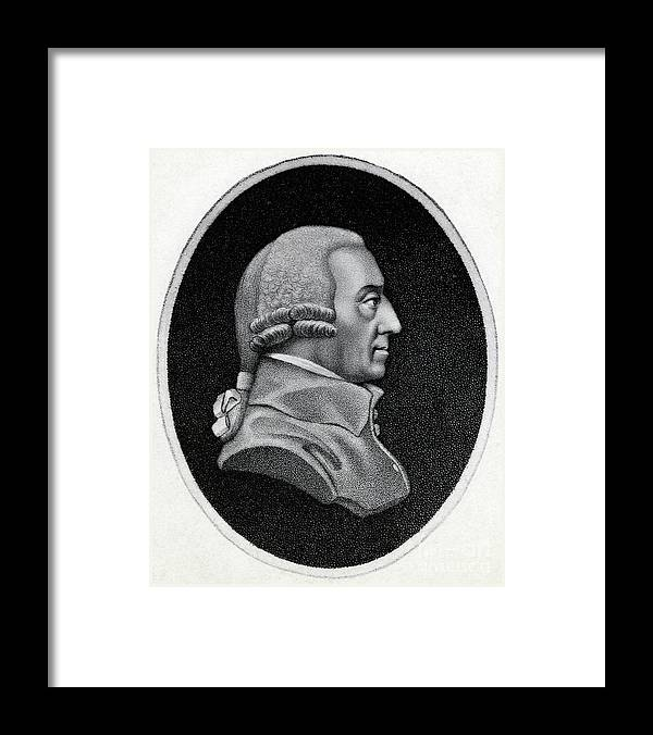 Engraving Framed Print featuring the photograph Engraving Of Economist Adam Smith by Bettmann