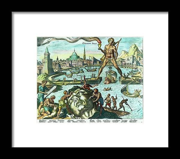 Engraving Framed Print featuring the photograph Engraving Of The Colossus Of Rhodes by Bettmann