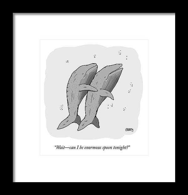 """""""wait—can I Be Enormous Spoon Tonight?"""" Spooning Framed Print featuring the drawing Enormous Spoon by Tadhg Ferry"""