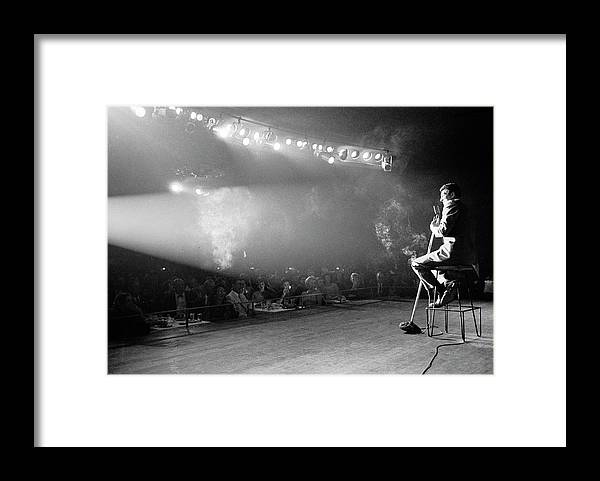 Timeincown Framed Print featuring the photograph Entertainer Dean Martin On Stage by Allan Grant