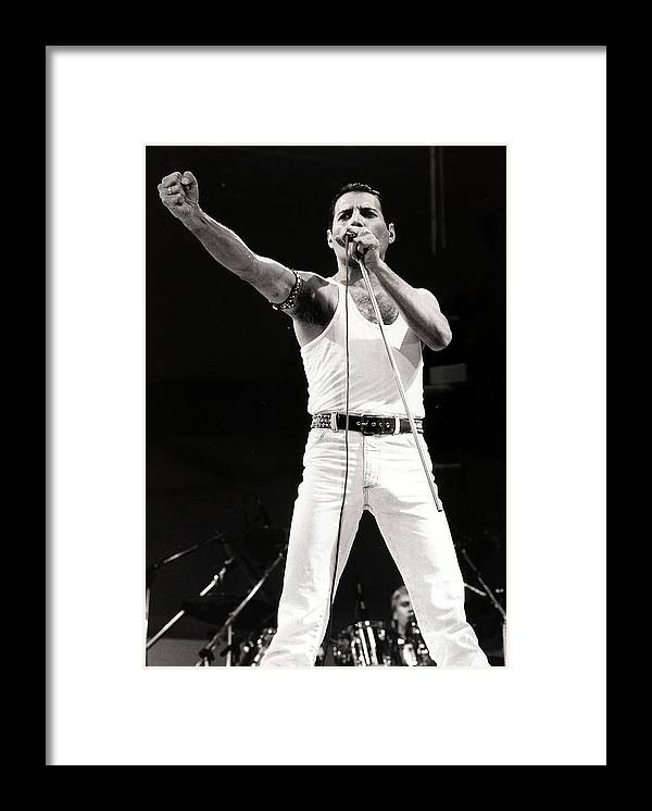 Freddie Mercury Framed Print featuring the photograph Entertainmentmusic. Live Aid Concert by Popperfoto