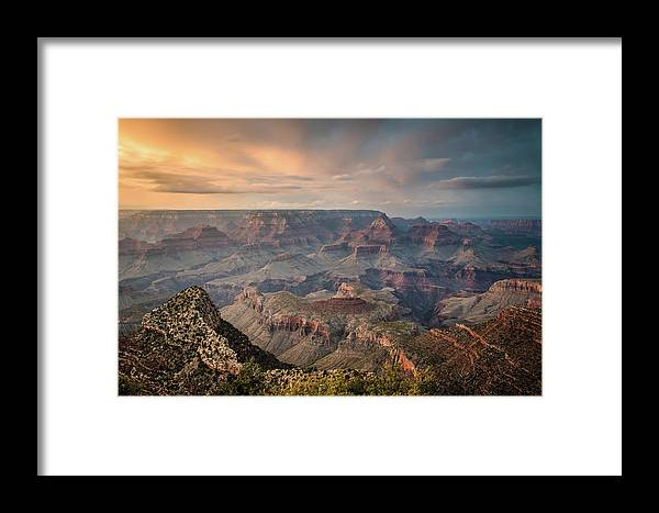 Majestic Framed Print featuring the photograph Epic Sunset Over Grand Canyon South Rim by Wayfarerlife Photography