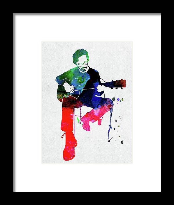 Eric Clapton Framed Print featuring the mixed media Eric Clapton Watercolor by Naxart Studio