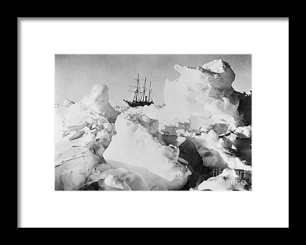 1914-17 Imperial Trans-antarctic Expedition Framed Print featuring the photograph Ernest Shackletons Ship Endurance by Bettmann