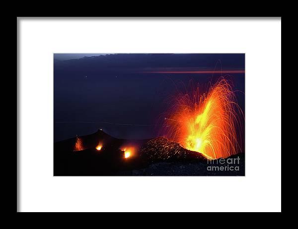 Non-urban Scene Framed Print featuring the photograph Eruption Of Stromboli Volcano, Italy by Francesco Sartori