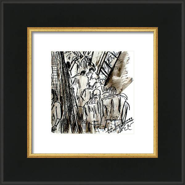 Coal Drawing Framed Print featuring the drawing Escalator Of Life Up And Down by Lee Eggstein