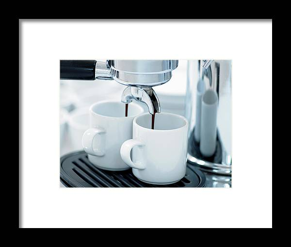 Temptation Framed Print featuring the photograph Espresso Machine Making Coffee by Adam Gault