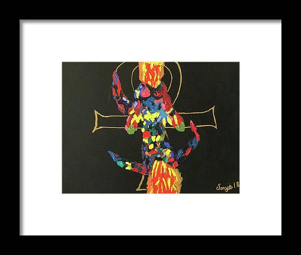 Love Framed Print featuring the painting Eternal Flame by Sonye Locksmith
