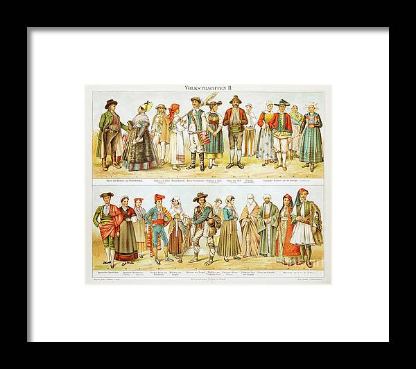 Engraving Framed Print featuring the digital art European Costumes Lithograph 1897 by Thepalmer