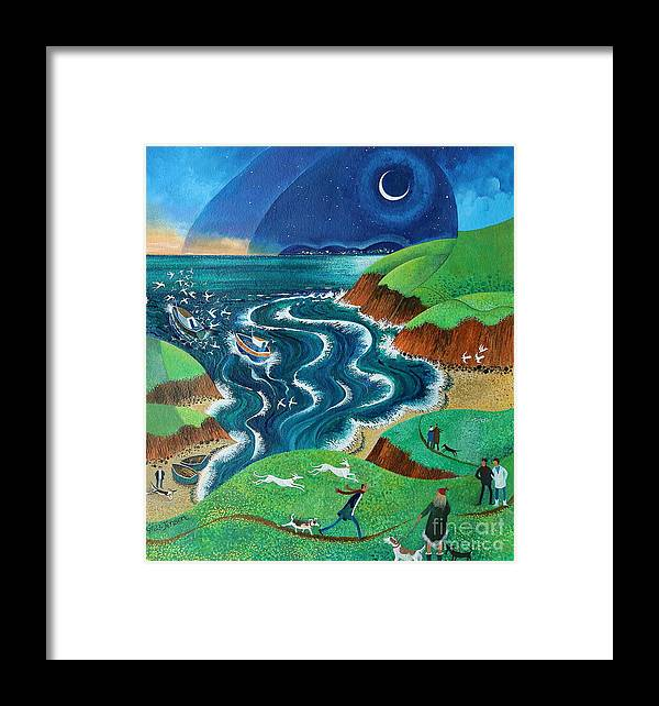 Blue Framed Print featuring the painting Evening Sea Breezes by Lisa Graa Jensen