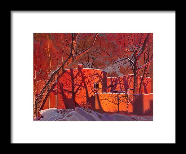 Taos Framed Print featuring the painting Evening Shadows On A Round Taos House by Art West