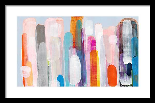 Abstract Framed Print featuring the painting Everyone's Invited by Claire Desjardins