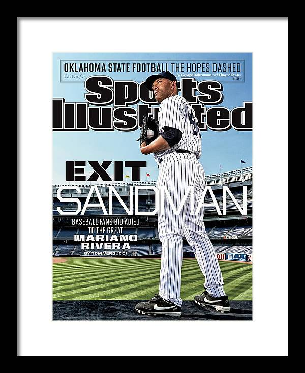 Magazine Cover Framed Print featuring the photograph Exit Sandman Baseball Fans Bid Adieu To The Great Mariano Sports Illustrated Cover by Sports Illustrated