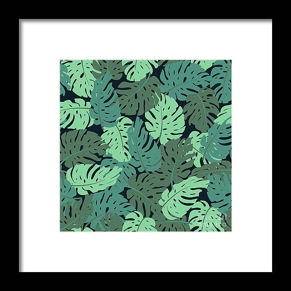 Art Framed Print featuring the digital art Exotic Leaves, Rainforest. Seamless by Utro na more