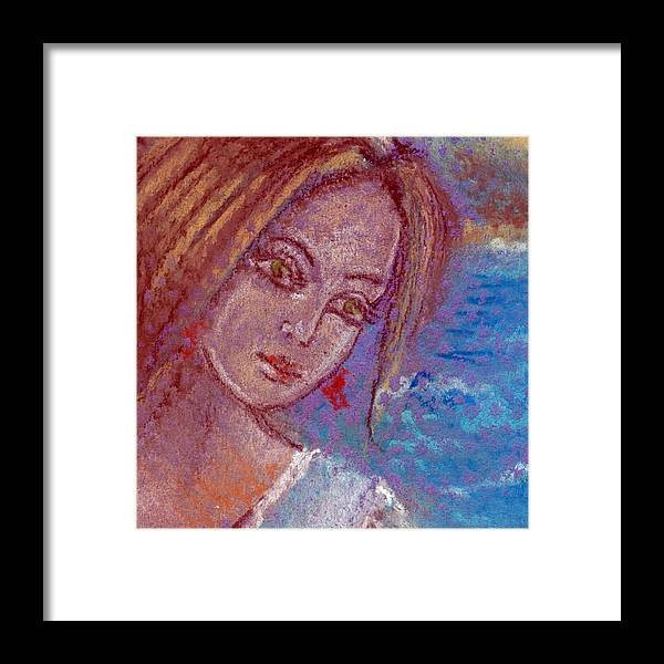 Face Framed Print featuring the drawing Face Of Young Woman Waiting For Prince Charming by Elena Sysoeva