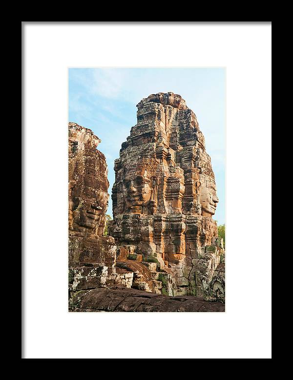 Cambodian Culture Framed Print featuring the photograph Faces On Bayon Temple Cambodia by Leezsnow