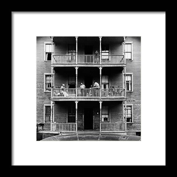 Timeincown Framed Print featuring the photograph Family On Balcony Of Apartment Building by Gordon Parks