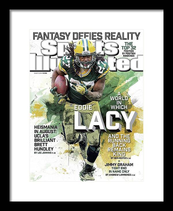 Green Bay Framed Print featuring the photograph Fantasy Defies Reality A World In Which Eddie Lacy And The Sports Illustrated Cover by Sports Illustrated
