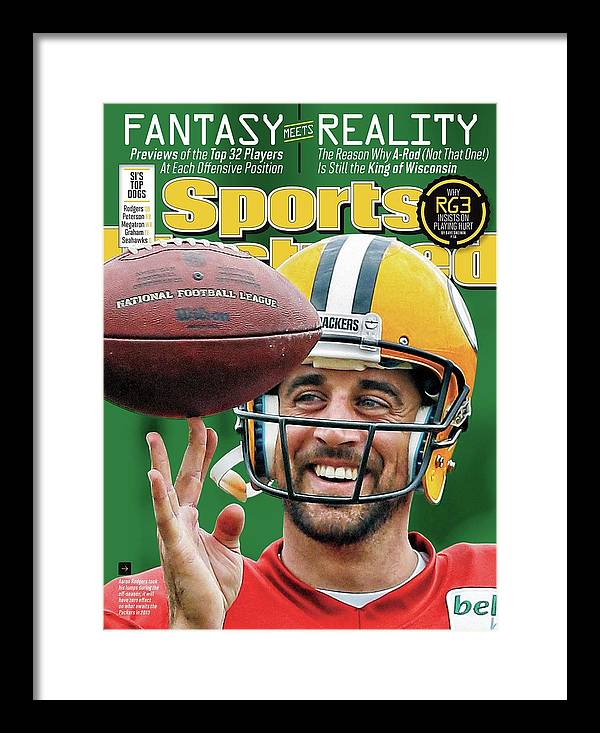 Green Bay Framed Print featuring the photograph Fantasy Meets Reality 2013 Nfl Fantasy Football Issue Sports Illustrated Cover by Sports Illustrated