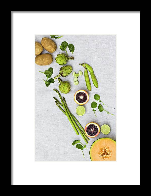 White Background Framed Print featuring the photograph Farmers Market - Vegetables On Linen by Kelly Sterling Photography