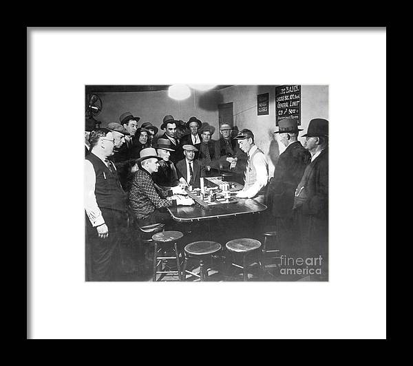 People Framed Print featuring the photograph Faro Gambling House After Legalization by Bettmann