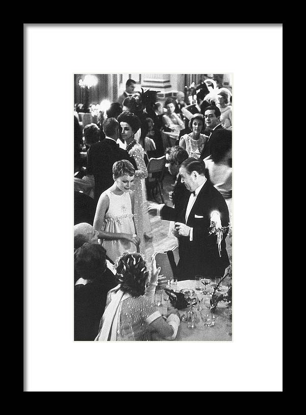 Recreational Pursuit Framed Print featuring the photograph Farrow & Sorenson At Black & White Ball by Fred W. McDarrah