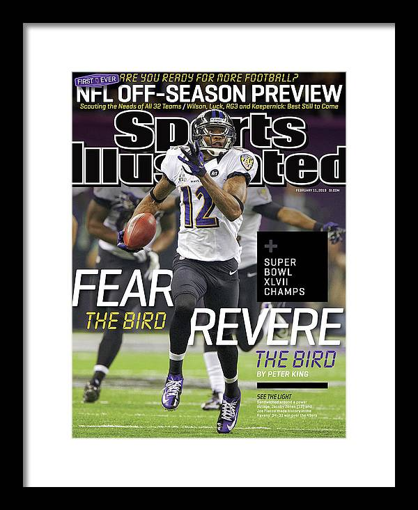 Magazine Cover Framed Print featuring the photograph Fear The Bird, Revere The Bird Super Bowl Xlvii Champs Sports Illustrated Cover by Sports Illustrated