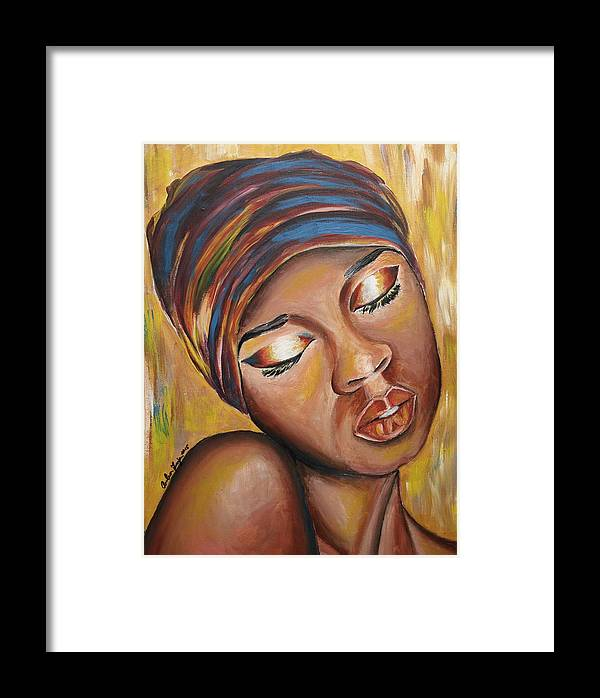 Lady Framed Print featuring the painting Feeling Some Type Of Way by Anitra Frazier