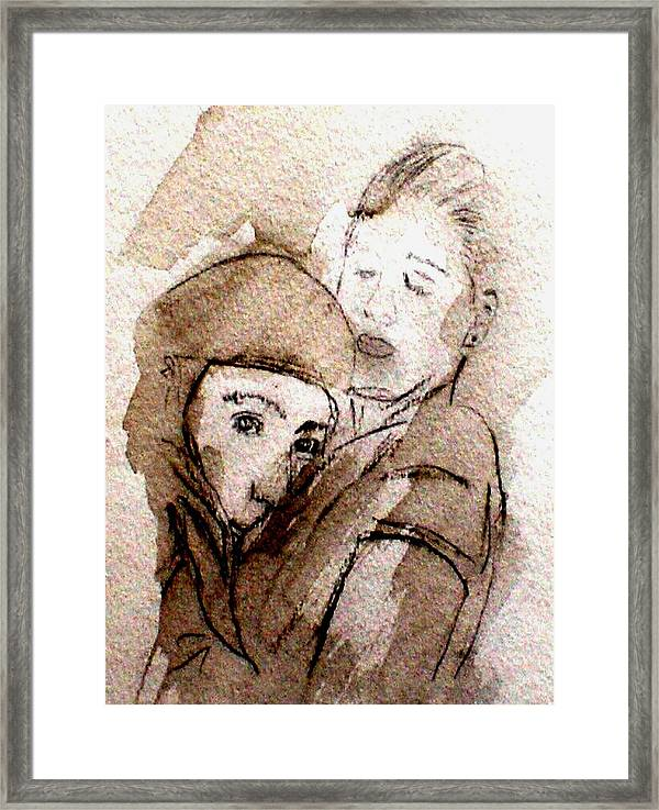 Charcoal Drawing Framed Print featuring the drawing Feelings 2 by Andreas Hoetzel