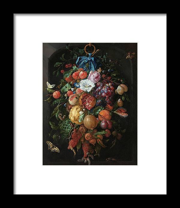 Jan Davidsz De Heem Framed Print featuring the painting Festoon Of Fruit And Flowers, 1670 by Jan Davidsz de Heem